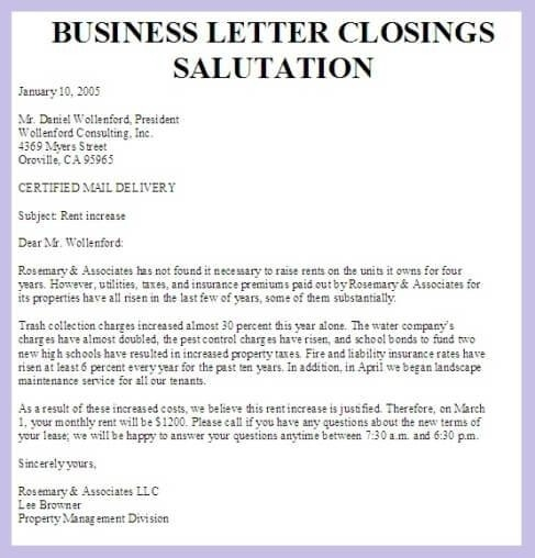 Closing Salutation For Business Letter   icebergcoworking