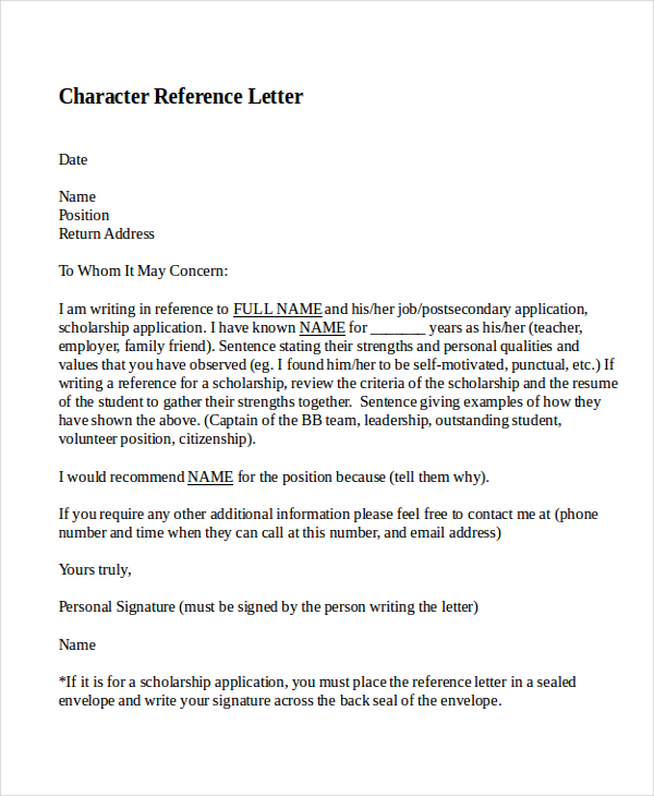 9+ Sample Character Reference Letter Templates   PDF, DOC | Free
