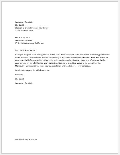 One Day Off Request Letter to Boss | Word & Excel Templates