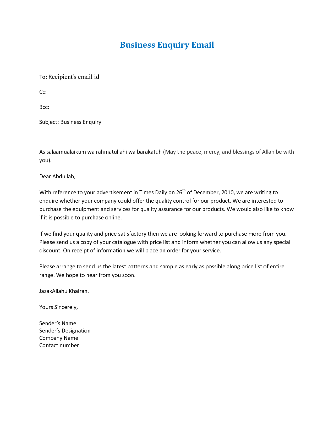 Business Letter Email Format   Design Templates