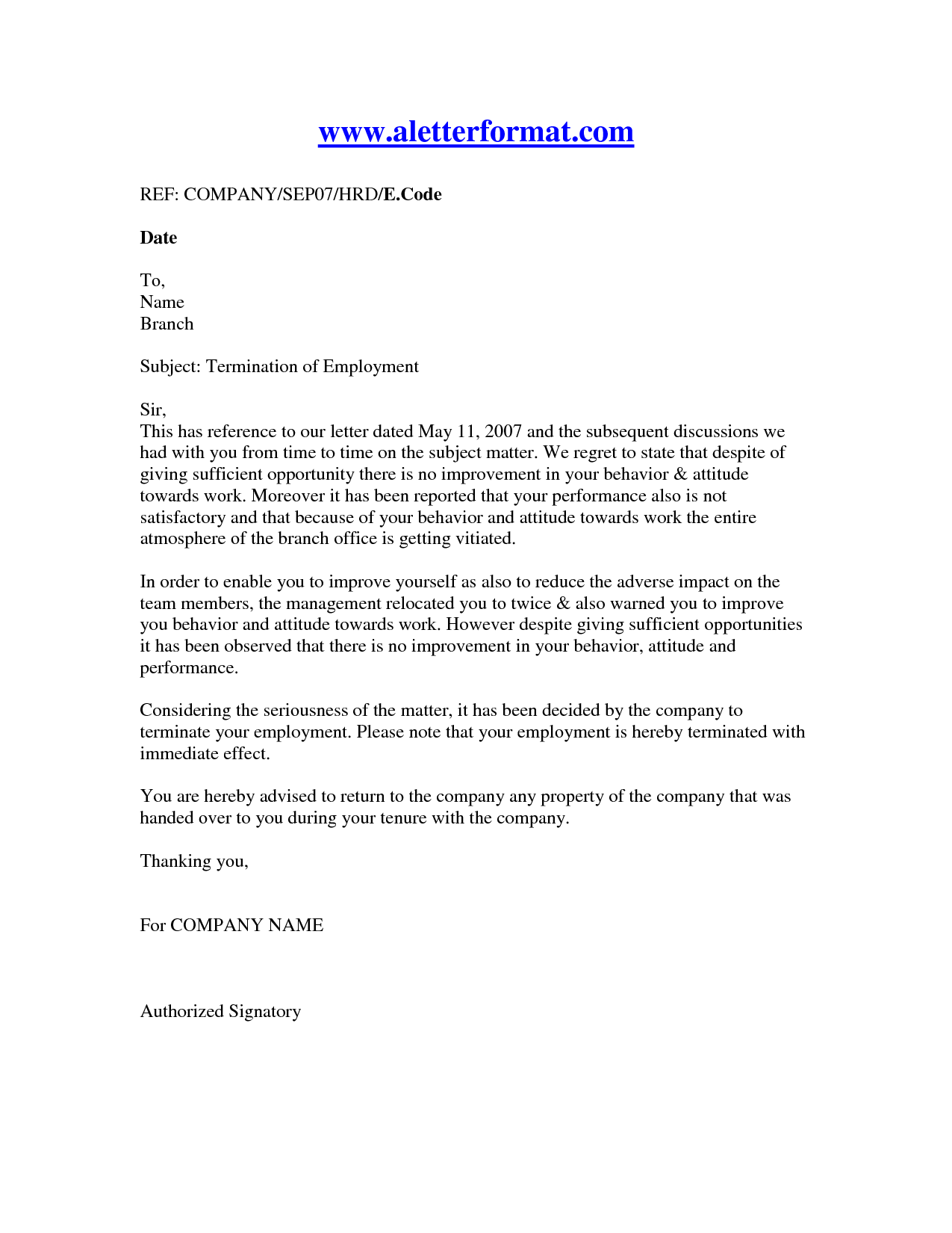termination letter to employee sample   Ukran.soochi.co