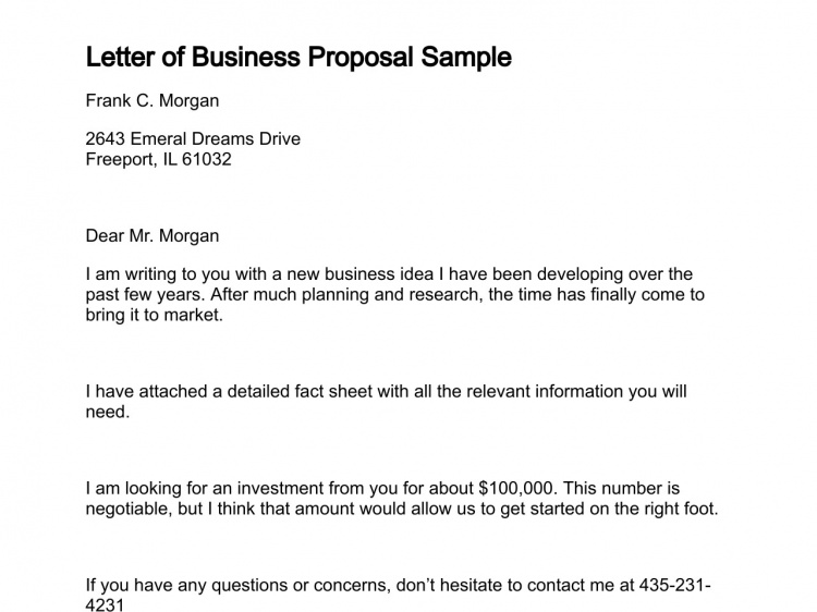 Letter of Business Proposal
