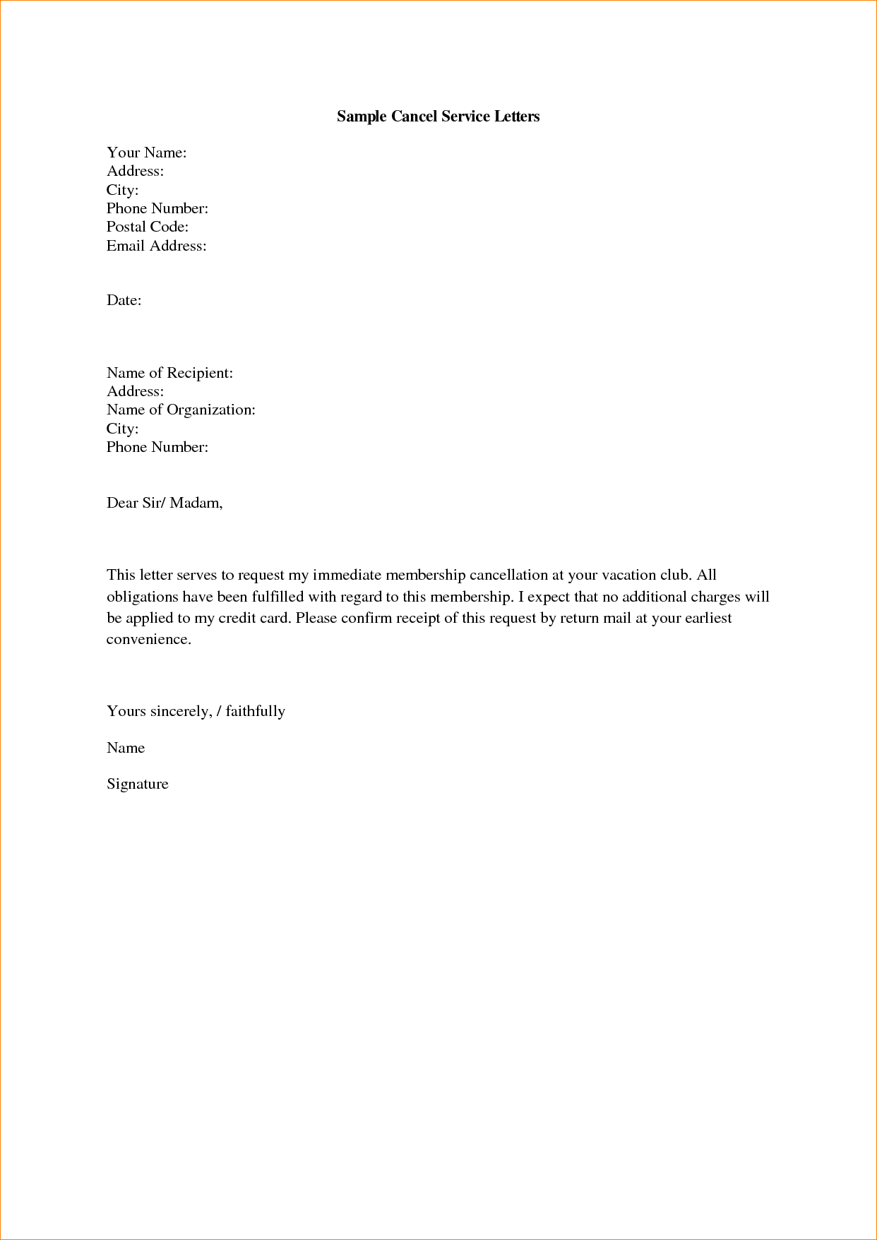 letter to cancel service   Yelom.myphonecompany.co