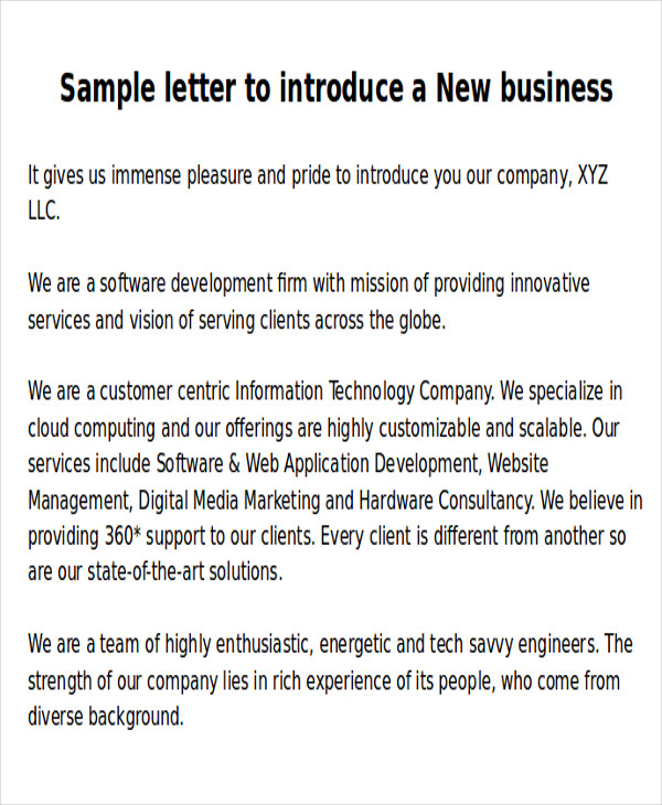 new business introduction letters