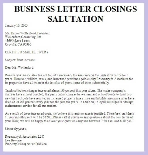 personal letter closings