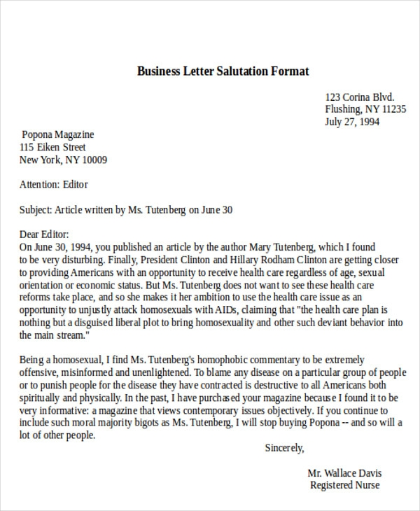 Proper Salutation For Cover Letter: Salutation Business Letters