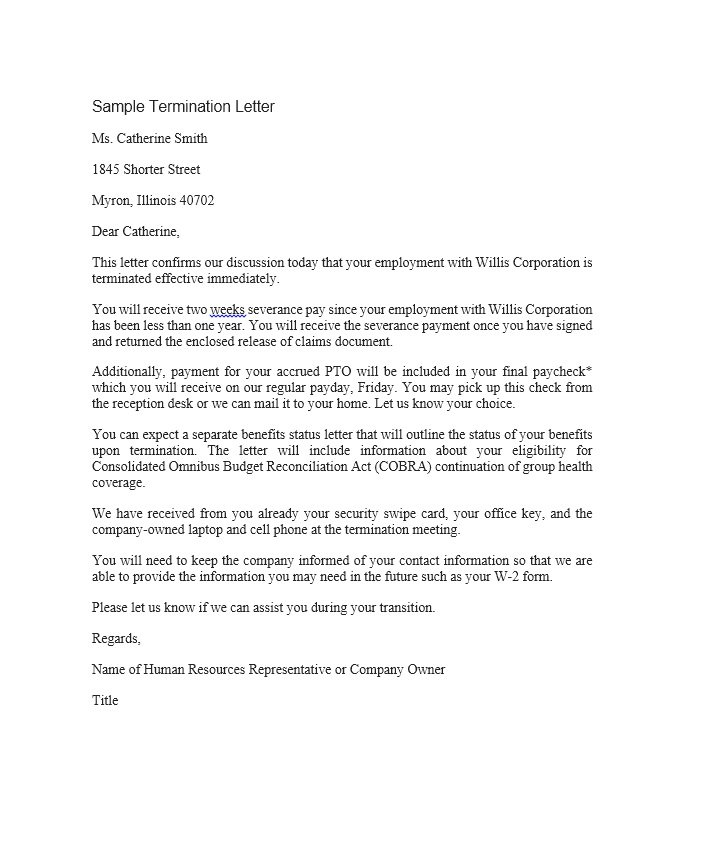 Sample Letter Of Termination Of Employment | Apparel Dream Inc