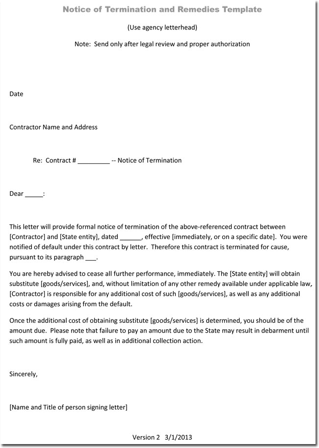 Termination Letter Example Without Cause | Letter Samples & Templates