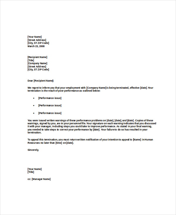termination letter to employee for poor performance termination