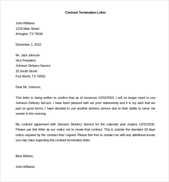 Service Cancellation Letter | Apparel Dream Inc