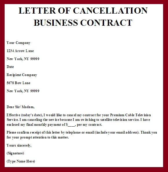 cancel contract letter template   Ukran.soochi.co