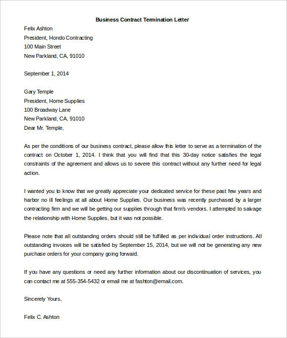 service cancellation letter from a business service cancellation