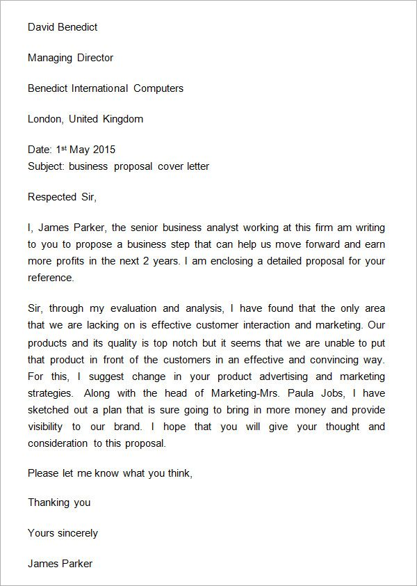 Sample Business Proposal Cover Letter | Business | Pinterest