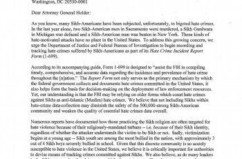 adressing a letter adressing a letter addressing a letter doj letter sikh hate crimes