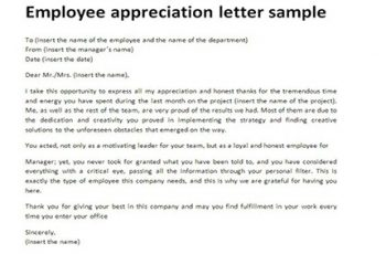 appreciation letters to employees employee appreciation letter template the letter sample regarding employee appreciation letter
