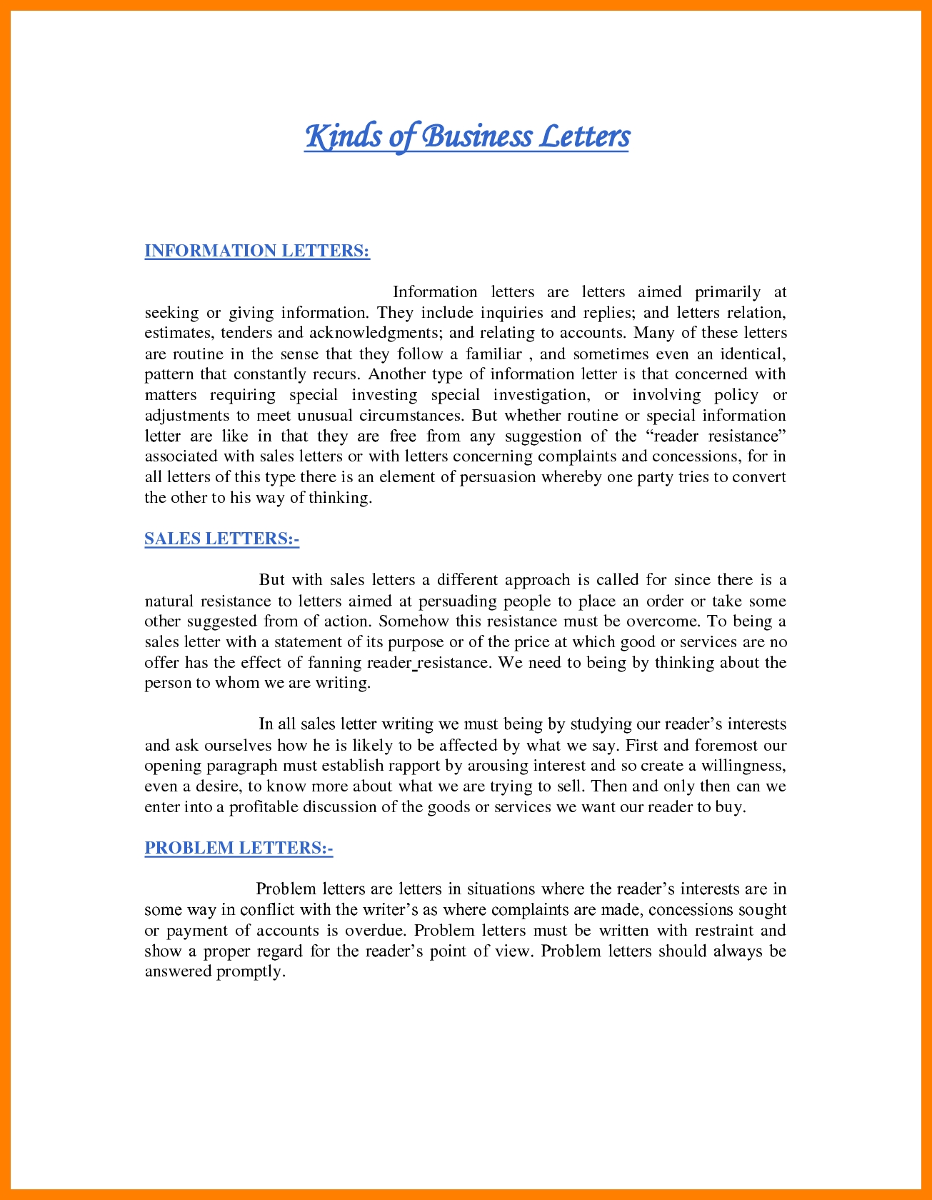 Lovely Business Correspondence Letter format | Aguakatedigital
