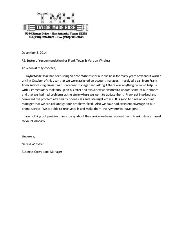 Taylor Made Referral Letter Frank Tovar San Antonio Verizon Business …