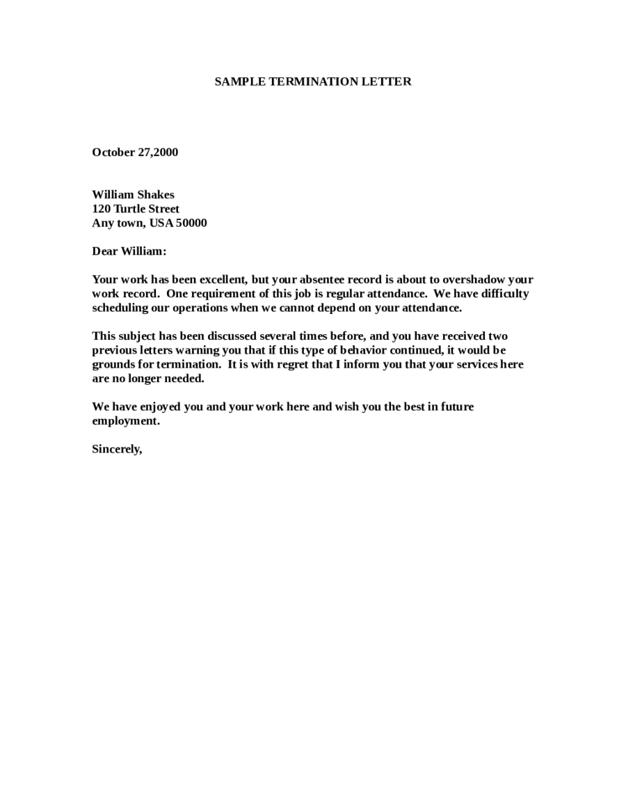 sample of a termination letter to an employee   Ukran.soochi.co