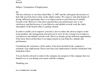 employment termination letters samples employee termination letter 14306490