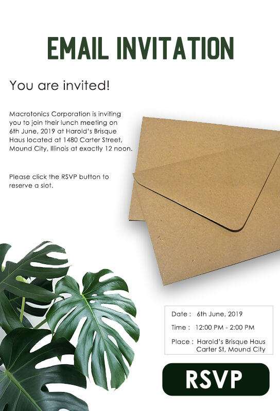 Email Invitation Customizable PSD Template
