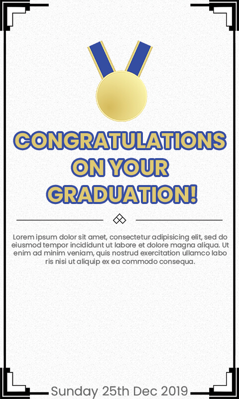 graduation card Customizable PSD Template