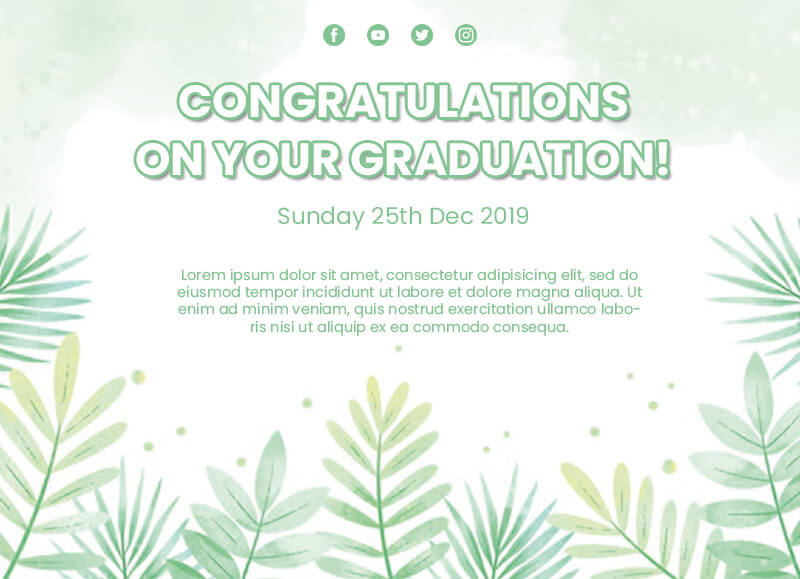 graduation card Free PSD Template