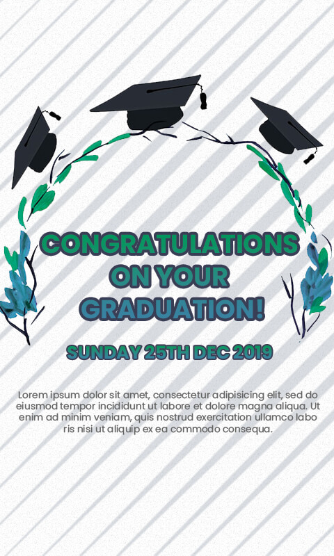 graduation card PSD Flyer Template