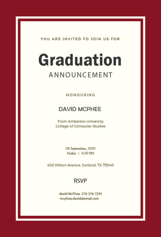 graduation announcement example psd design
