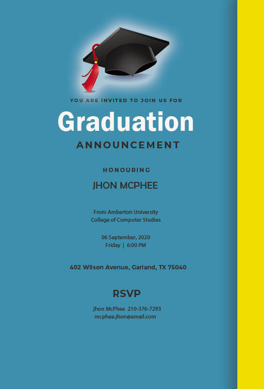 graduation announcement psd