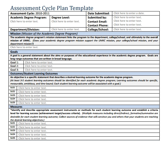 Assessment plan template free download