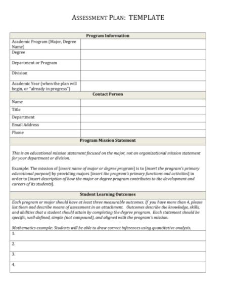 Assessment plan template free templates