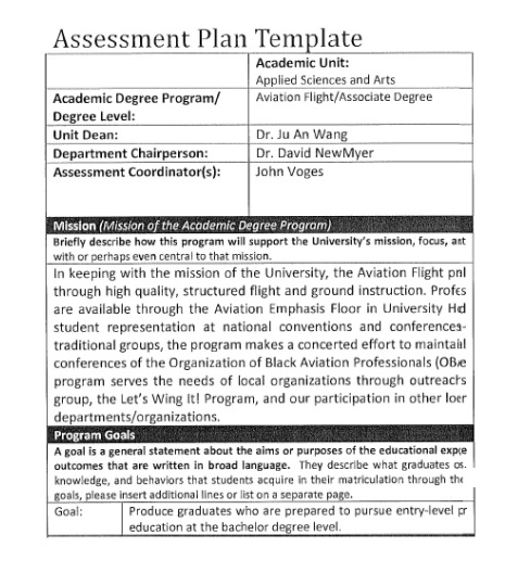 Assessment plan template in free download