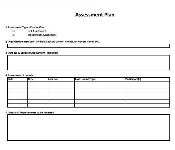 Assessment plan template template free