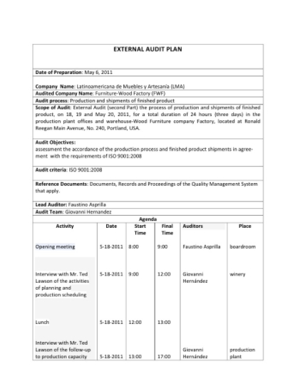 Audit Plan Template free download