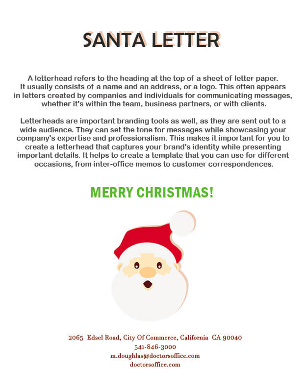 Santa Letter customizable psd design templates