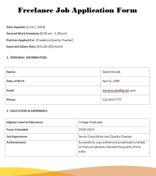application form template free word template