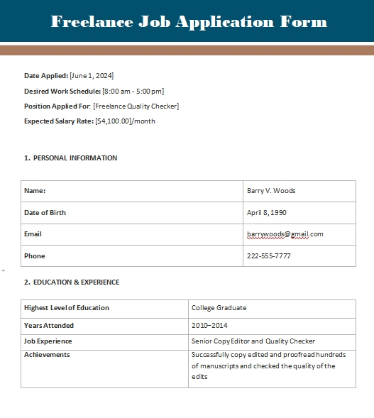 application form template in word design