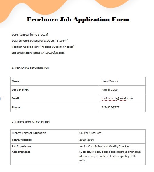 application form template template for word