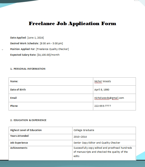 application form template word template free