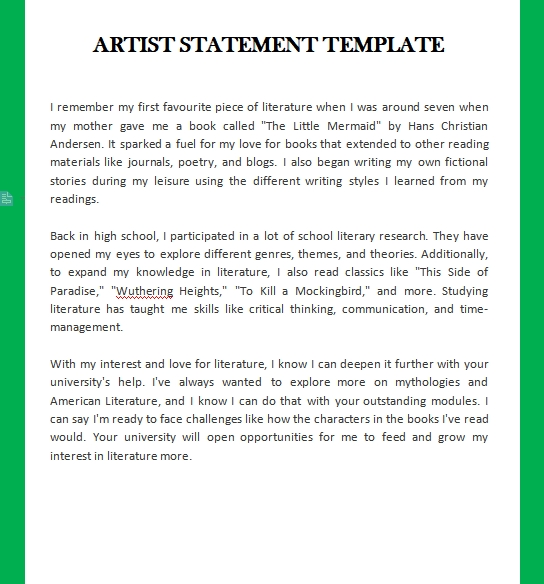 artist statement template customizable word design template