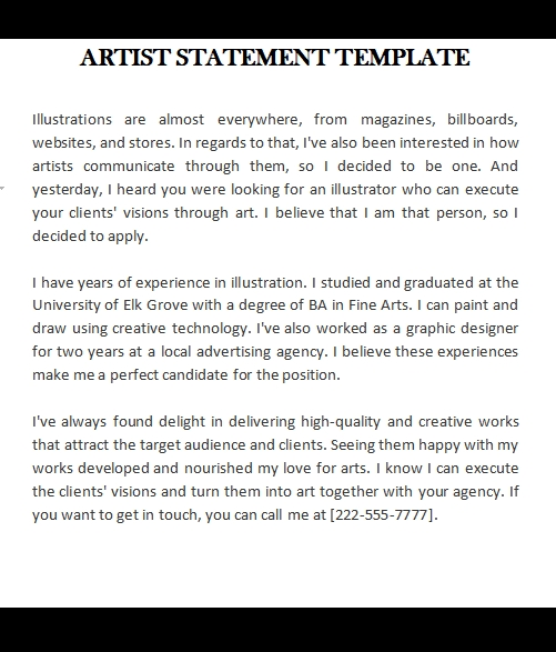 artist statement template free download word