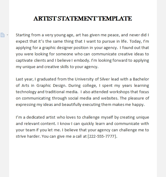 artist statement template free word template
