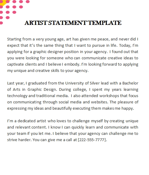 artist statement template in word design