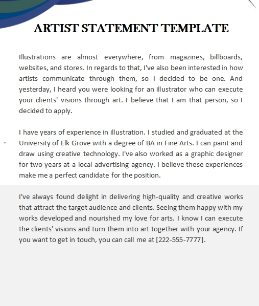 artist statement template in word