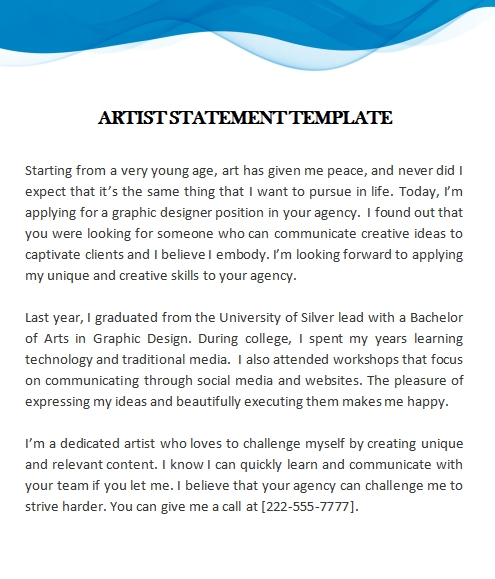 artist statement template template for word