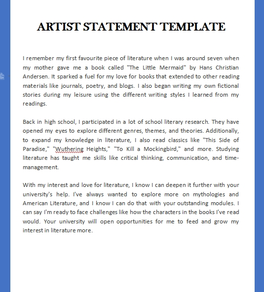 artist statement template template free word