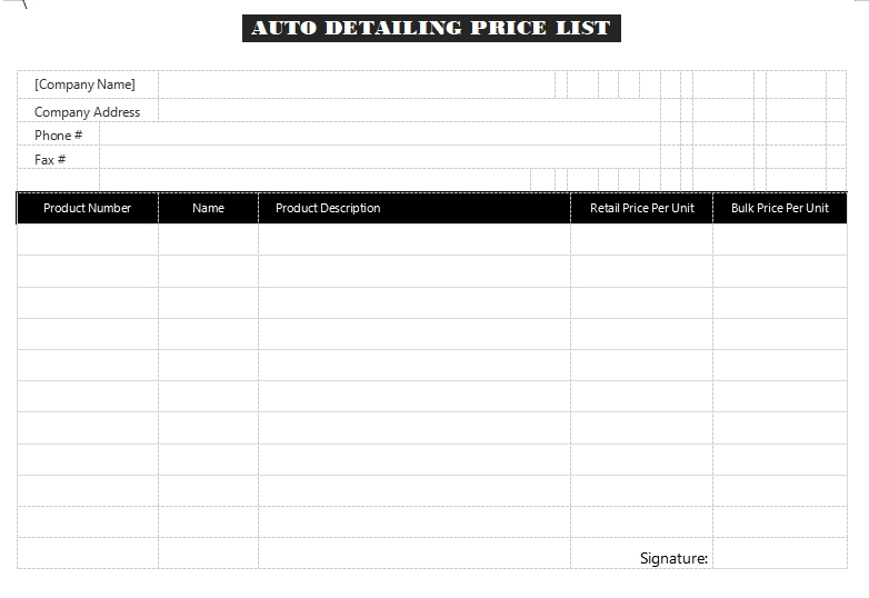 auto detailing price list example word design