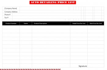 auto detailing price list free download word