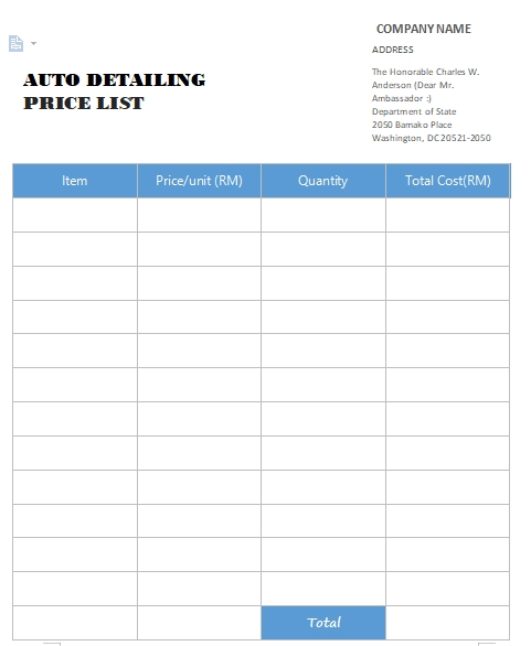 auto detailing price list free word template