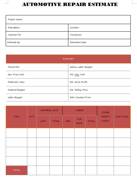 automotive repair estimate template template for word